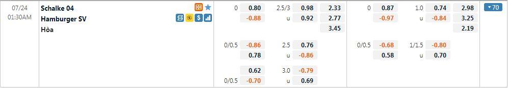 Tỷ lệ kèo Schalke 04 vs Hamburger