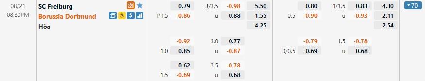 Tỷ lệ kèo Freiburg vs Dortmund