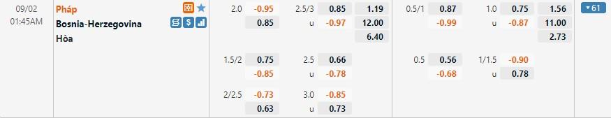 Tỷ lệ kèo Pháp vs Bosnia