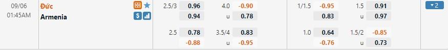 Tỷ lệ kèo Đức vs Armenia
