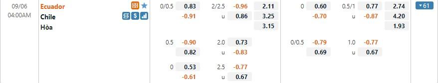 Tỷ lệ kèo Ecuador vs Chile