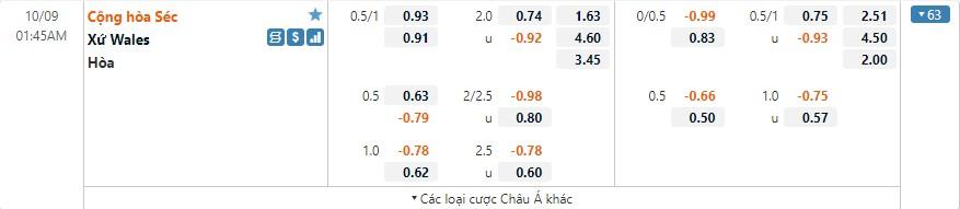 Tỷ lệ kèo CH Séc vs Wales