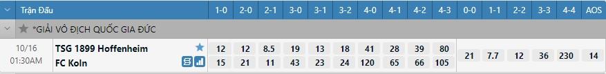 Tỷ lệ kèo tỷ số Hoffenheim vs Koln